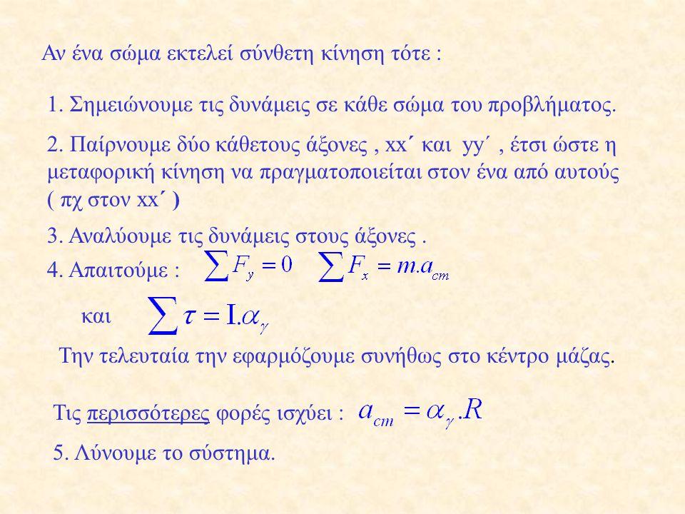 h m M Β. Όταν το σώμα έχει πέσει h = 2,5 m ισχύει : Ο αριθμός των περιστροφών ισούται : Το Δφ μπορούσε να υπολογιστεί και ως :