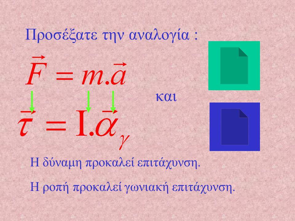 Συμπέρασμα Όσο μεγαλύτερο το πηλίκο : τόσο μικρότερη η επιτάχυνση και επομένως μεγαλύτερη η διάρκεια της κίνησης.
