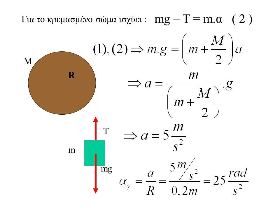 Α.Σημειώνουμε τις δυνάμεις στο σώμα και την τροχαλία, Τ Τmg ( Δεν σημειώνουμε το βάρος της τροχαλίας και την δύναμη του άξονα διότι δεν έχουν ροπή. )