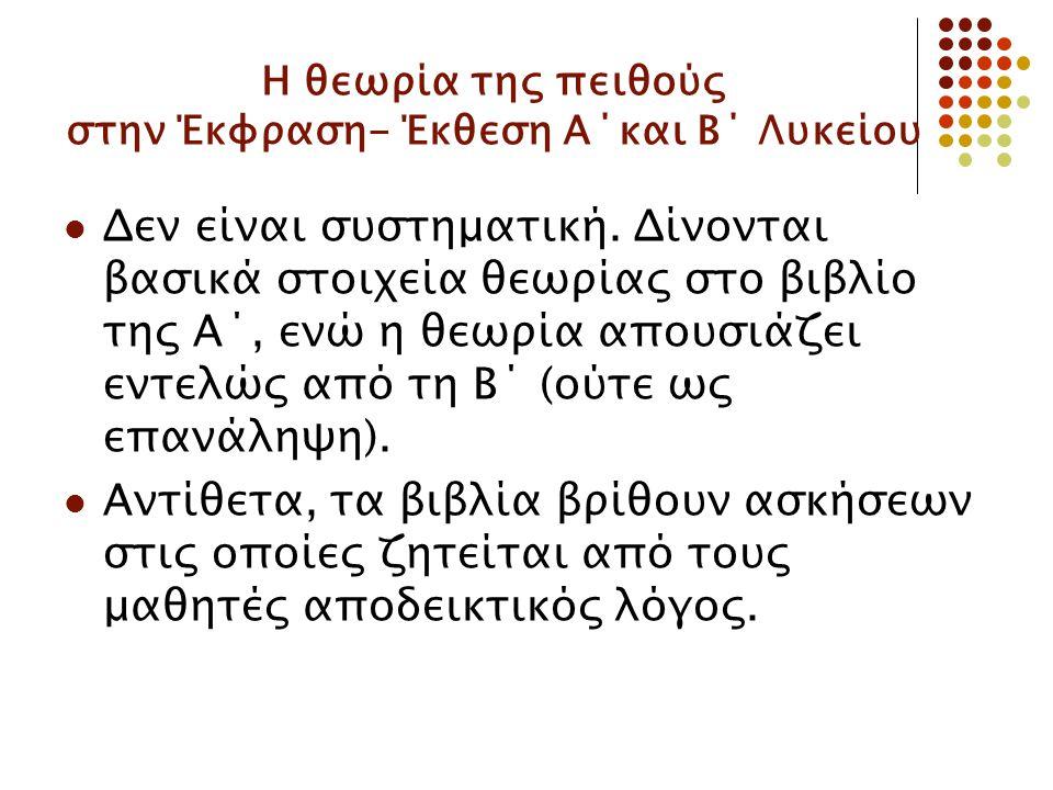 Η θεωρία της πειθούς στην Έκφραση- Έκθεση Α΄και Β΄ Λυκείου Δεν είναι συστηματική.