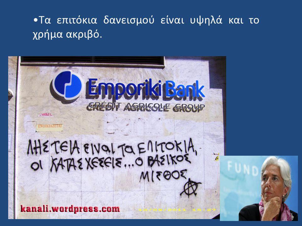 Τα επιτόκια δανεισμού είναι υψηλά και το χρήμα ακριβό.