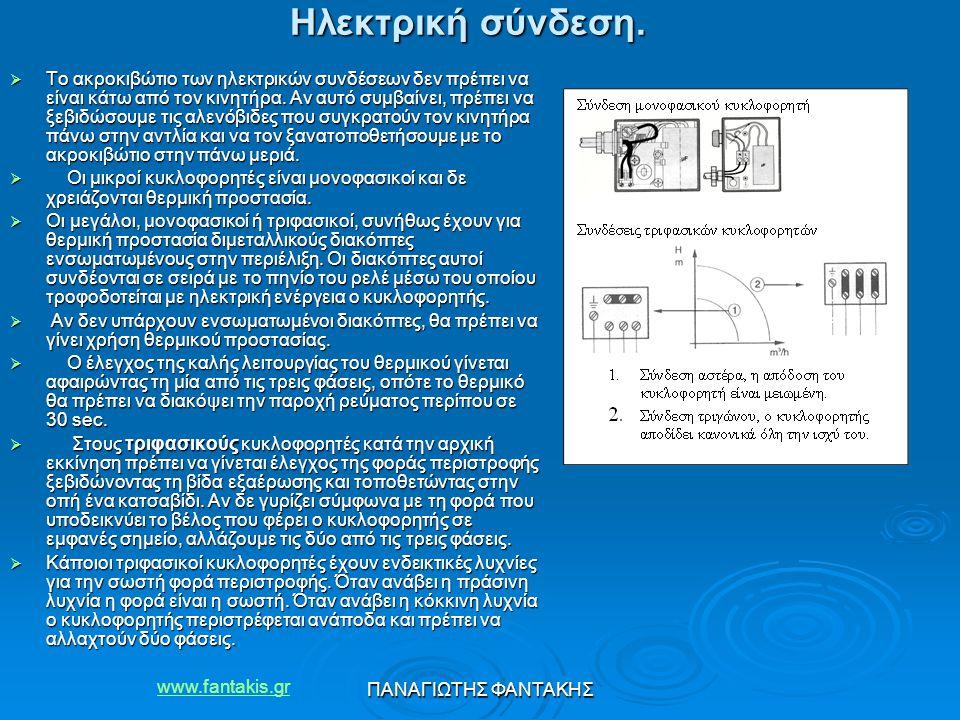 www.fantakis.gr ΠΑΝΑΓΙΩΤΗΣ ΦΑΝΤΑΚΗΣ Ηλεκτρική σύνδεση.  Το ακροκιβώτιο των ηλεκτρικών συνδέσεων δεν πρέπει να είναι κάτω από τον κινητήρα. Αν αυτό συ