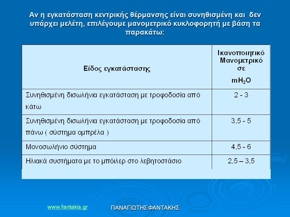 www.fantakis.gr ΠΑΝΑΓΙΩΤΗΣ ΦΑΝΤΑΚΗΣ Αν η εγκατάσταση κεντρικής θέρμανσης είναι συνηθισμένη και δεν υπάρχει μελέτη, επιλέγουμε μανομετρικό κυκλοφορητή