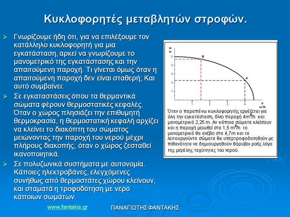 www.fantakis.gr ΠΑΝΑΓΙΩΤΗΣ ΦΑΝΤΑΚΗΣ Κυκλοφορητές μεταβλητών στροφών.  Γνωρίζουμε ήδη ότι, για να επιλέξουμε τον κατάλληλο κυκλοφορητή για μια εγκατάσ