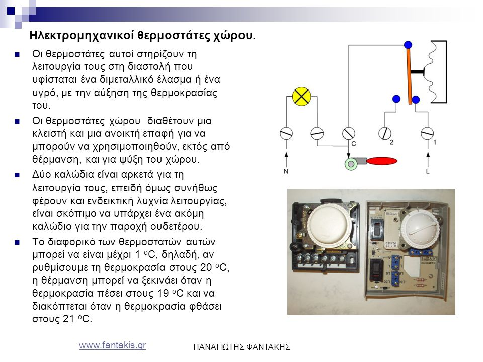 www.fantakis.gr ΠΑΝΑΓΙΩΤΗΣ ΦΑΝΤΑΚΗΣ Ηλεκτρομηχανικοί θερμοστάτες χώρου. Οι θερμοστάτες αυτοί στηρίζουν τη λειτουργία τους στη διαστολή που υφίσταται έ