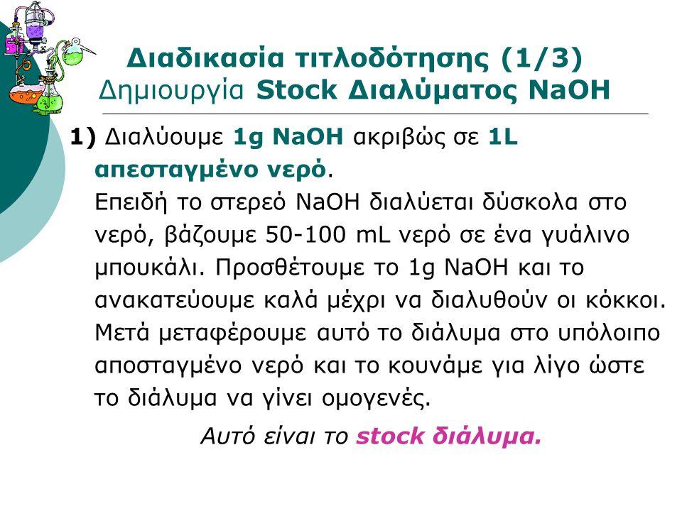 Διαδικασία τιτλοδότησης (1/3) Δημιουργία Stock Διαλύματος NaOH 1) Διαλύουμε 1g NaOH ακριβώς σε 1L απεσταγμένο νερό. Επειδή το στερεό ΝaOΗ διαλύεται δύ