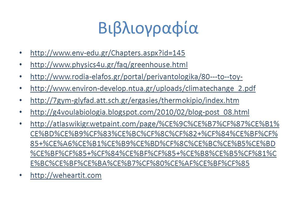 Βιβλιογραφία http://www.env-edu.gr/Chapters.aspx?id=145 http://www.physics4u.gr/faq/greenhouse.html http://www.rodia-elafos.gr/portal/perivantologika/