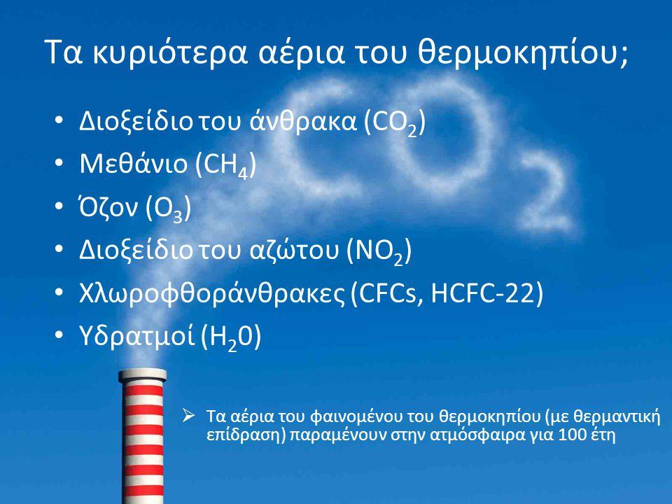 Τα κυριότερα αέρια του θερμοκηπίου; Διοξείδιο του άνθρακα (CO 2 ) Μεθάνιο (CH 4 ) Όζον (Ο 3 ) Διοξείδιο του αζώτου (NO 2 ) Χλωροφθοράνθρακες (CFCs, HC