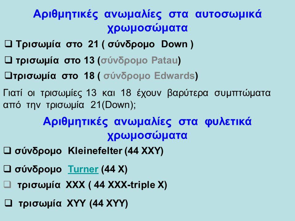 Αριθμητικές ανωμαλίες στα αυτοσωμικά χρωμοσώματα  Τρισωμία στο 21 ( σύνδρομο Down ) Τρισωμία στο 21 ( σύνδρομο Down )  τρισωμία στο 13 (σύνδρομο Patau) τρισωμία στο 13 (σύνδρομο Patau)  τρισωμία στο 18 ( σύνδρομο Edwards) τρισωμία στο 18 ( σύνδρομο Edwards) Αριθμητικές ανωμαλίες στα φυλετικά χρωμοσώματα  σύνδρομο Kleinefelter (44 ΧΧΥ) σύνδρομο Kleinefelter (44 ΧΧΥ)  σύνδρομο Turner (44 Χ) σύνδρομο Turner (44 Χ)  τρισωμία ΧΧΧ ( 44 XXX-triple X)  τρισωμία ΧΥΥ (44 ΧΥΥ) Γιατί οι τρισωμίες 13 και 18 έχουν βαρύτερα συμπτώματα από την τρισωμία 21(Down);