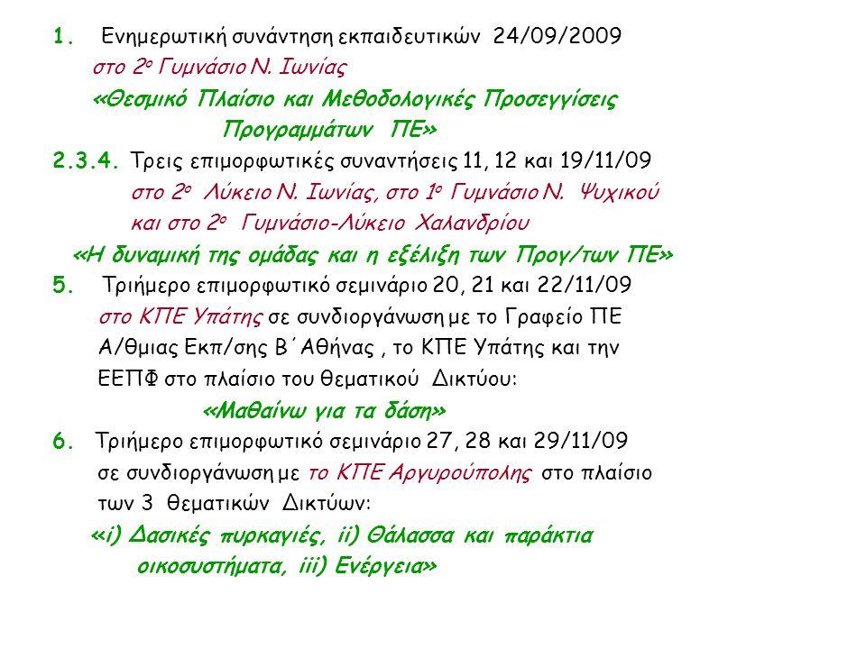 1. Ενημερωτική συνάντηση εκπαιδευτικών 24/09/2009 στο 2 ο Γυμνάσιο Ν. Ιωνίας «Θεσμικό Πλαίσιο και Μεθοδολογικές Προσεγγίσεις Προγραμμάτων ΠΕ» 2.3.4. Τ