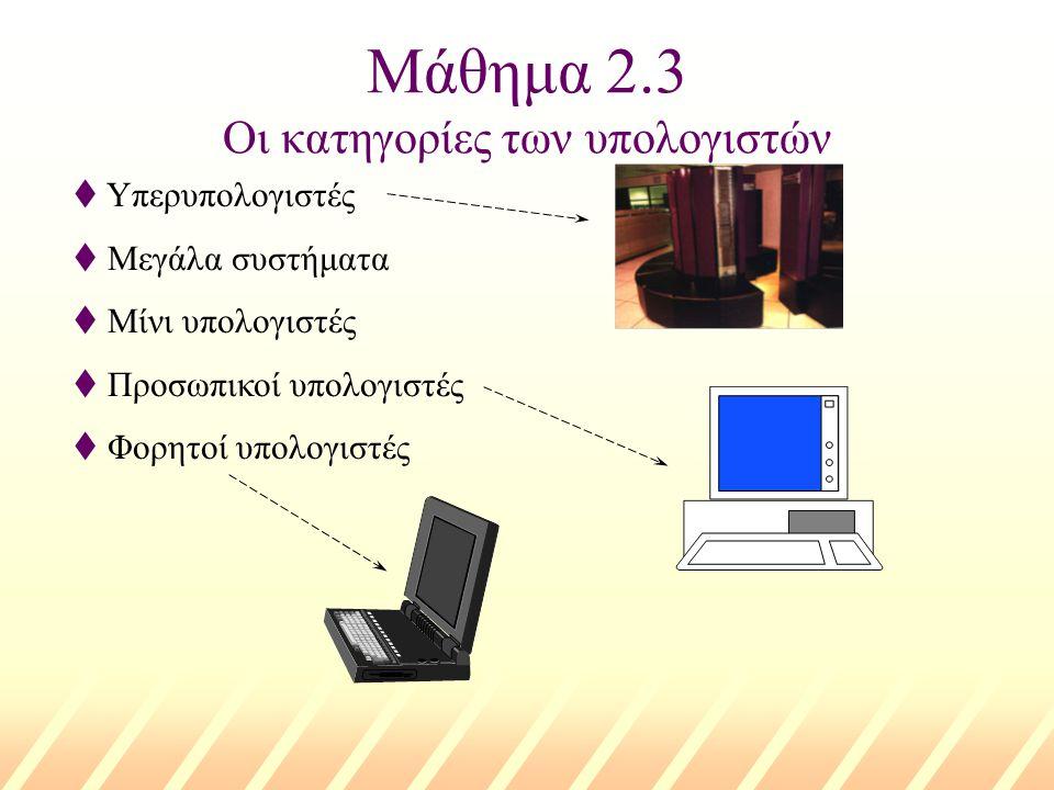 Μάθημα 2.3 Οι κατηγορίες των υπολογιστών t Υπερυπολογιστές t Μεγάλα συστήματα t Μίνι υπολογιστές t Προσωπικοί υπολογιστές t Φορητοί υπολογιστές