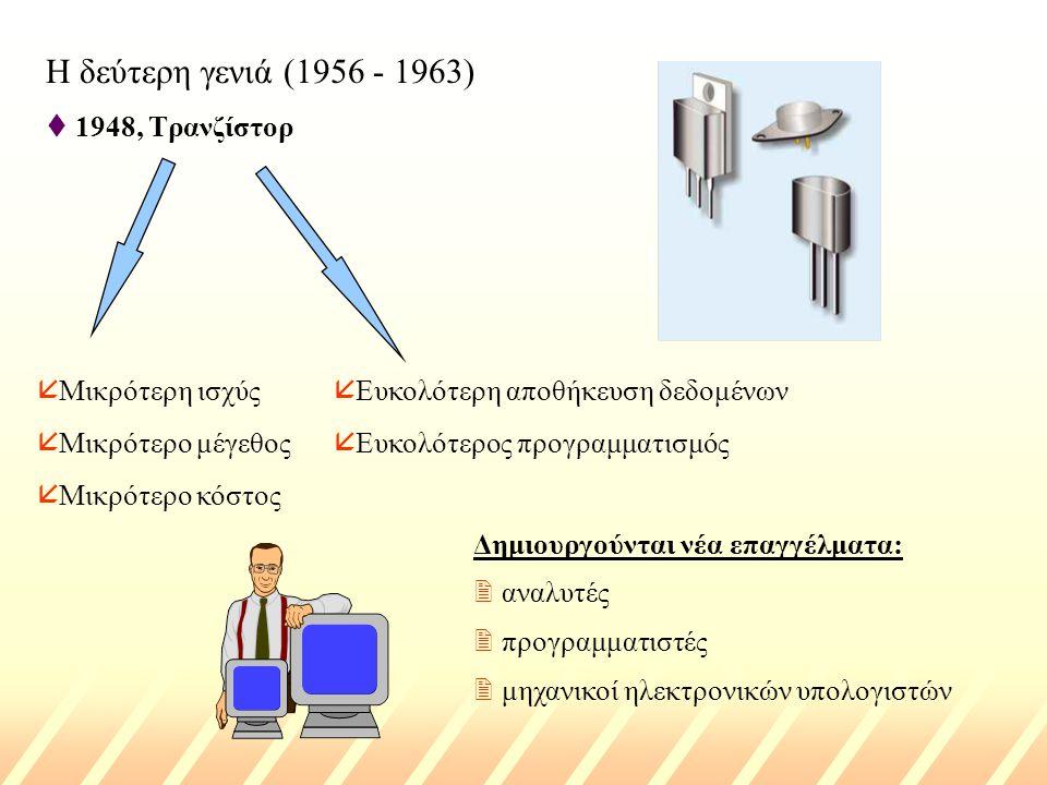Η δεύτερη γενιά (1956 - 1963) t 1948, Τρανζίστορ å Μικρότερη ισχύς å Μικρότερο μέγεθος å Μικρότερο κόστος å Ευκολότερη αποθήκευση δεδομένων å Ευκολότερος προγραμματισμός Δημιουργούνται νέα επαγγέλματα: 2 αναλυτές 2 προγραμματιστές 2 μηχανικοί ηλεκτρονικών υπολογιστών