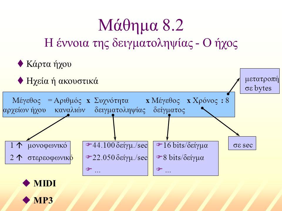 Μάθημα 8.2 Η έννοια της δειγματοληψίας - Ο ήχος t Κάρτα ήχου t Ηχεία ή ακουστικά Μέγεθος = Αριθμός x Συχνότητα x Μέγεθος x Χρόνος : 8 καναλιώναρχείων ήχουδειγματοληψίαςδείγματος 1 á μονοφωνικό 2 á στερεοφωνικό F44.100 δείγμ./sec F22.050 δείγμ./sec F...