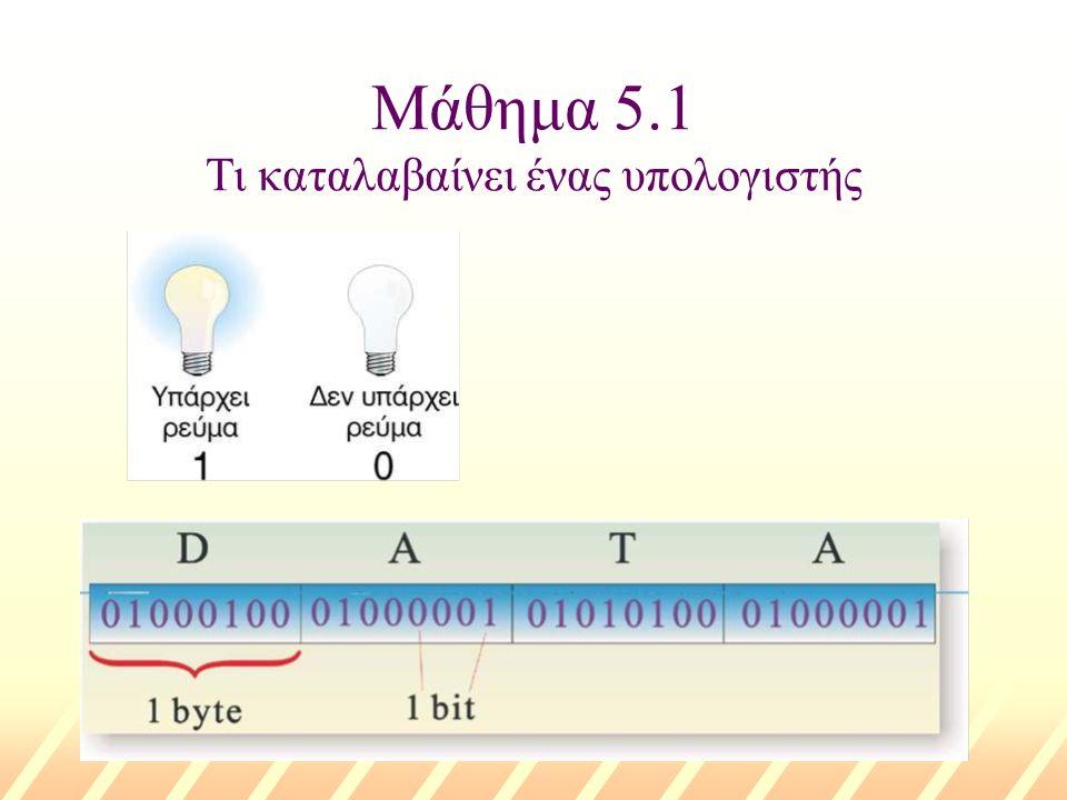 Μάθημα 5.2 Ο υπολογιστής ως ενιαίο σύνολο u Άνοιγμα του υπολογιστή u Έλεγχος των περιφερειακών συσκευών u Φορτώνεται το Λειτουργικό Σύστημα στη RAM u Φορτώνεται από την περιφερειακή μνήμη μια εφαρμογή στη RAM u Επεξεργασία δεδομένων στην ΚΜΕ v Εκτέλεση αριθμητικών πράξεων με τα δεδομένα v Εκτέλεση πράξεων σύγκρισης ή λογικών πράξεων v Μεταφορά δεδομένων προς τη RAM u Μεταφορά της παραγόμενης πληροφορίας στην κατάλληλη μονάδα εξόδου Η συνεργασία υλικού λογισμικού