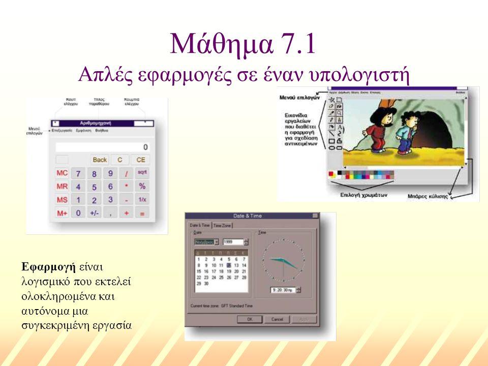 Μάθημα 7.1 Απλές εφαρμογές σε έναν υπολογιστή Εφαρμογή είναι λογισμικό που εκτελεί ολοκληρωμένα και αυτόνομα μια συγκεκριμένη εργασία
