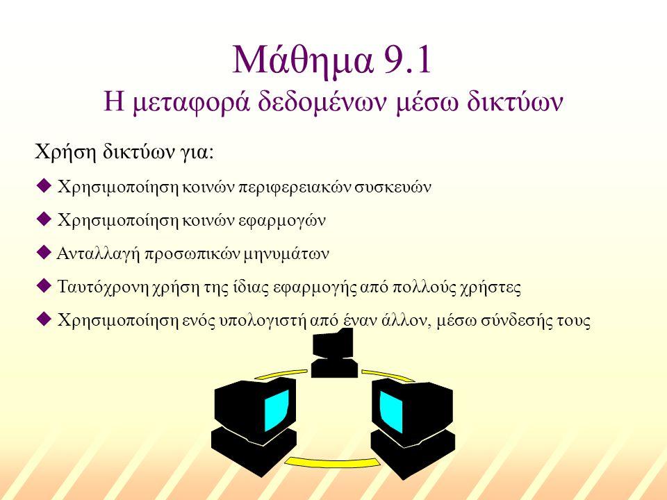 Μάθημα 9.1 Η μεταφορά δεδομένων μέσω δικτύων Χρήση δικτύων για: u Χρησιμοποίηση κοινών περιφερειακών συσκευών u Χρησιμοποίηση κοινών εφαρμογών u Ανταλλαγή προσωπικών μηνυμάτων u Ταυτόχρονη χρήση της ίδιας εφαρμογής από πολλούς χρήστες u Χρησιμοποίηση ενός υπολογιστή από έναν άλλον, μέσω σύνδεσής τους