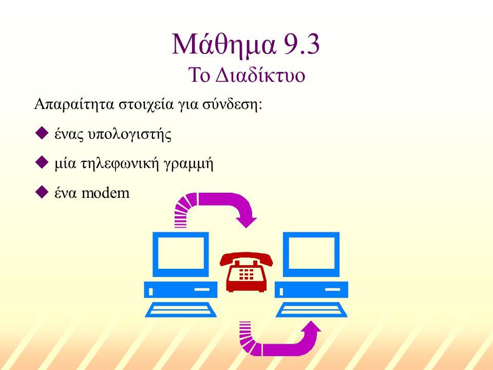 Μάθημα 9.3 Το Διαδίκτυο Απαραίτητα στοιχεία για σύνδεση: u ένας υπολογιστής u μία τηλεφωνική γραμμή u ένα modem