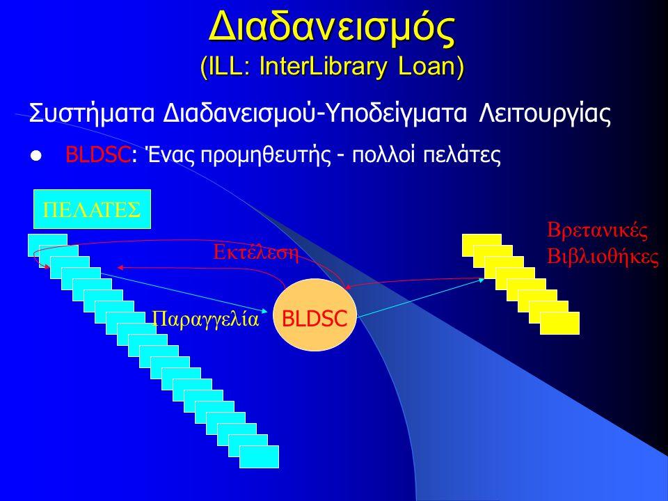 Διαδανεισμός (ILL: InterLibrary Loan) Συστήματα Διαδανεισμού-Υποδείγματα Λειτουργίας BLDSC: Ένας προμηθευτής - πολλοί πελάτες ΠΕΛΑΤΕΣ BLDSC Παραγγελία Εκτέλεση Βρετανικές Βιβλιοθήκες
