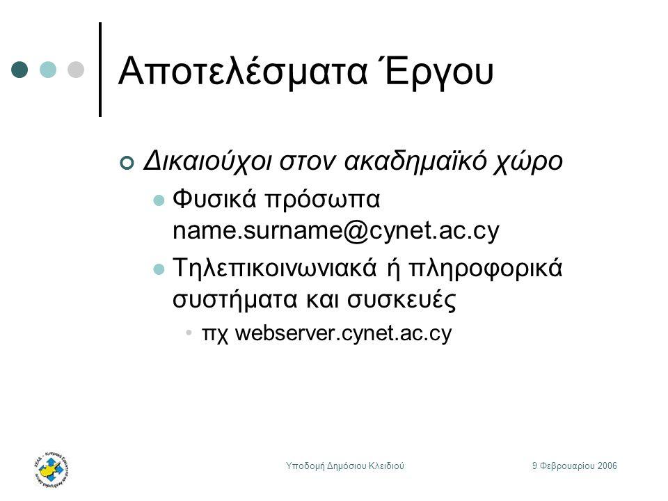 9 Φεβρουαρίου 2006Υποδομή Δημόσιου Κλειδιού Αποτελέσματα Έργου Δικαιούχοι στον ακαδημαϊκό χώρο Φυσικά πρόσωπα name.surname@cynet.ac.cy Τηλεπικοινωνιακά ή πληροφορικά συστήματα και συσκευές πχ webserver.cynet.ac.cy