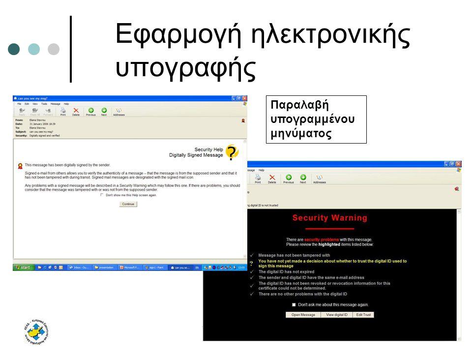 9 Φεβρουαρίου 2006Υποδομή Δημόσιου Κλειδιού Εφαρμογή ηλεκτρονικής υπογραφής Παραλαβή υπογραμμένου μηνύματος