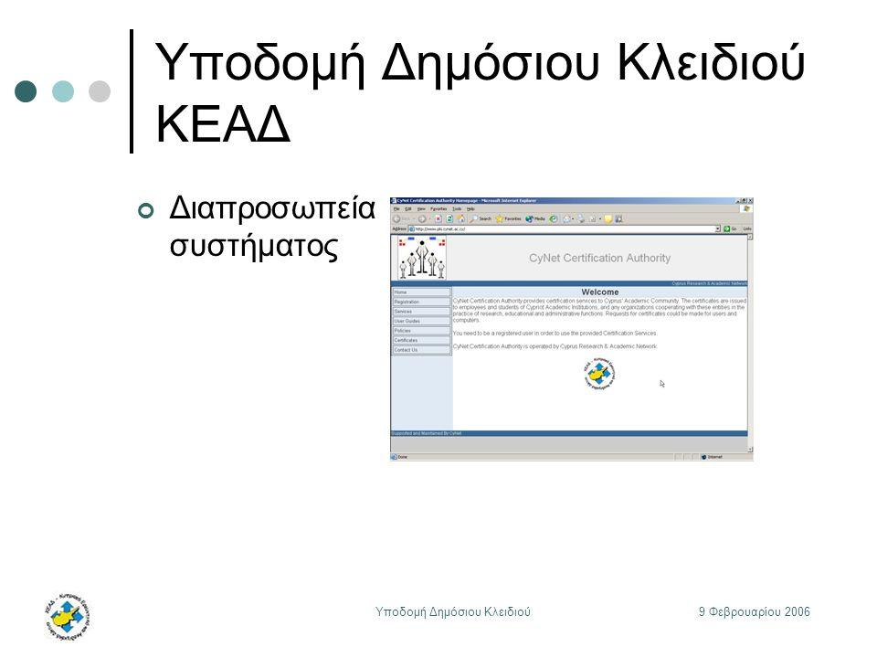 9 Φεβρουαρίου 2006Υποδομή Δημόσιου Κλειδιού Υποδομή Δημόσιου Κλειδιού ΚΕΑΔ Διαπροσωπεία συστήματος