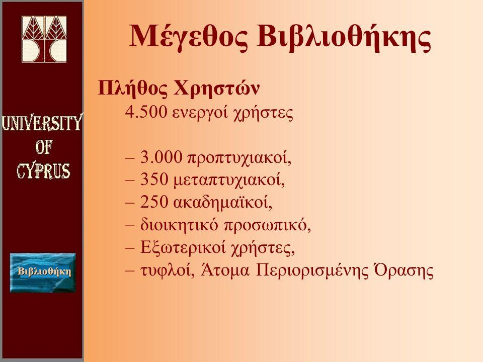 Βιβλιοθήκη Μέγεθος Βιβλιοθήκης Πλήθος Χρηστών 4.500 ενεργοί χρήστες –3.000 προπτυχιακοί, –350 μεταπτυχιακοί, –250 ακαδημαϊκοί, –διοικητικό προσωπικό, –Εξωτερικοί χρήστες, –τυφλοί, Άτομα Περιορισμένης Όρασης