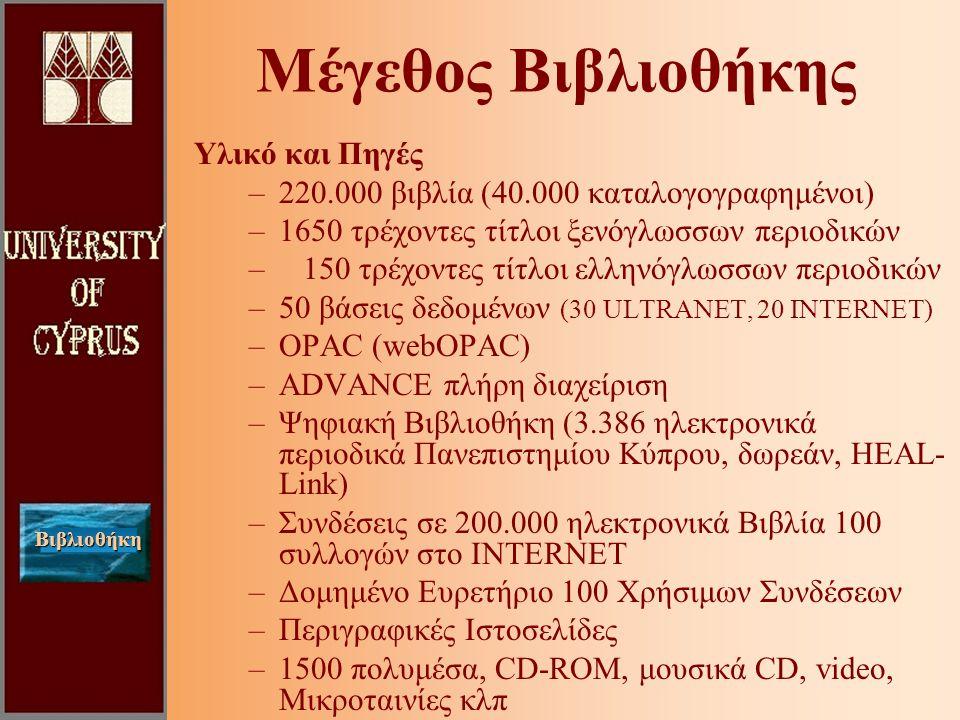 Βιβλιοθήκη Μέγεθος Βιβλιοθήκης Υλικό και Πηγές –220.000 βιβλία (40.000 καταλογογραφημένοι) –1650 τρέχοντες τίτλοι ξενόγλωσσων περιοδικών – 150 τρέχοντες τίτλοι ελληνόγλωσσων περιοδικών –50 βάσεις δεδομένων (30 ULTRANET, 20 INTERNET) –OPAC (webOPAC) –ADVANCE πλήρη διαχείριση –Ψηφιακή Βιβλιοθήκη (3.386 ηλεκτρονικά περιοδικά Πανεπιστημίου Κύπρου, δωρεάν, HEAL- Link) –Συνδέσεις σε 200.000 ηλεκτρονικά Βιβλία 100 συλλογών στο INTERNET –Δομημένο Ευρετήριο 100 Χρήσιμων Συνδέσεων –Περιγραφικές Ιστοσελίδες –1500 πολυμέσα, CD-ROM, μουσικά CD, video, Μικροταινίες κλπ