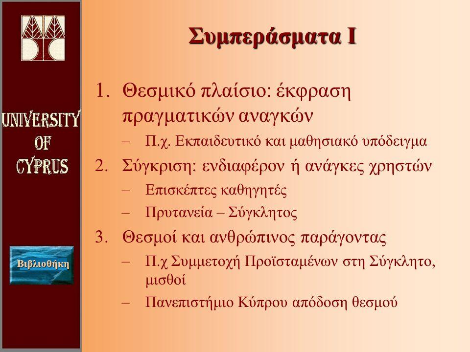 Βιβλιοθήκη 1.Θεσμικό πλαίσιο: έκφραση πραγματικών αναγκών –Π.χ.
