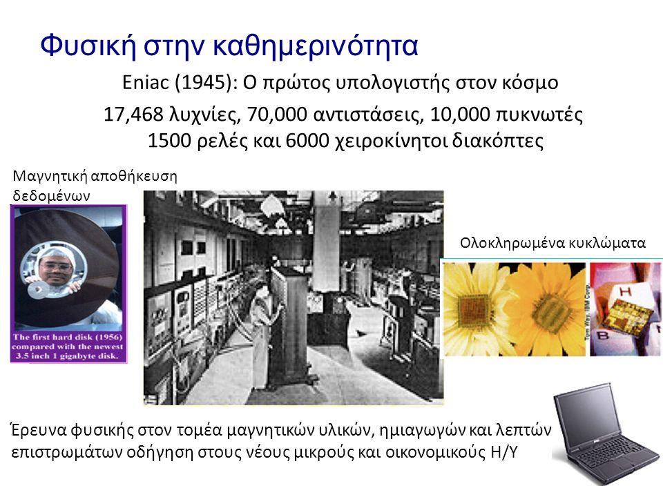Φυσική στην καθημερινότητα Eniac (1945): O πρώτος υπολογιστής στον κόσμο 17,468 λυχνίες, 70,000 αντιστάσεις, 10,000 πυκνωτές 1500 ρελές και 6000 χειρο