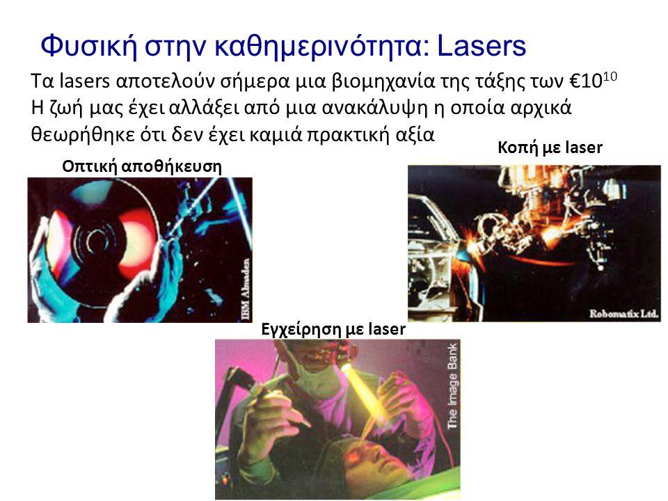 Φυσική στην καθημερινότητα: Lasers Τα lasers αποτελούν σήμερα μια βιομηχανία της τάξης των €10 10 Η ζωή μας έχει αλλάξει από μια ανακάλυψη η οποία αρχ