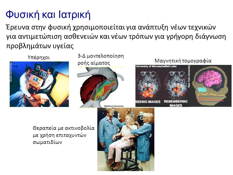 Φυσική και Ιατρική Έρευνα στην φυσική χρησιμοποιείται για ανάπτυξη νέων τεχνικών για αντιμετώπιση ασθενειών και νέων τρόπων για γρήγορη διάγνωση προβλ