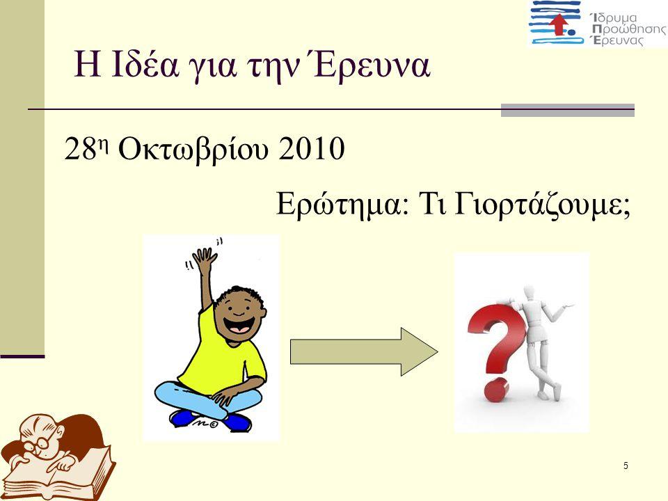 5 H Ιδέα για την Έρευνα 28 η Οκτωβρίου 2010 Ερώτημα: Τι Γιορτάζουμε;