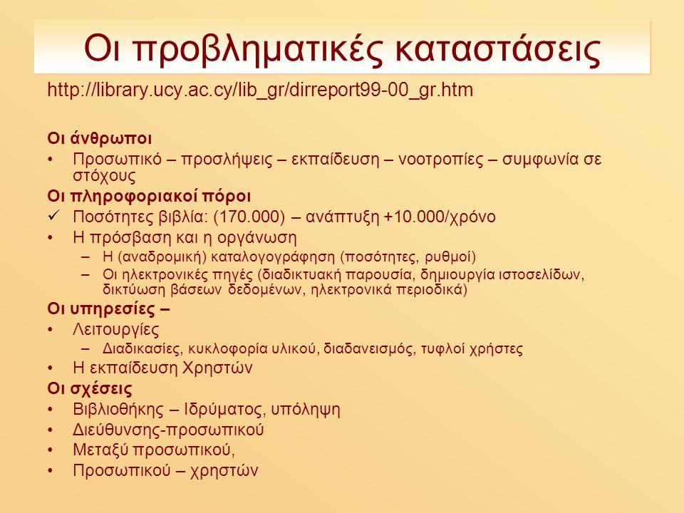 Οι προβληματικές καταστάσεις http://library.ucy.ac.cy/lib_gr/dirreport99-00_gr.htm Οι άνθρωποι Προσωπικό – προσλήψεις – εκπαίδευση – νοοτροπίες – συμφωνία σε στόχους Οι πληροφοριακοί πόροι Ποσότητες βιβλία: (170.000) – ανάπτυξη +10.000/χρόνο Η πρόσβαση και η οργάνωση –Η (αναδρομική) καταλογογράφηση (ποσότητες, ρυθμοί) –Οι ηλεκτρονικές πηγές (διαδικτυακή παρουσία, δημιουργία ιστοσελίδων, δικτύωση βάσεων δεδομένων, ηλεκτρονικά περιοδικά) Οι υπηρεσίες – Λειτουργίες –Διαδικασίες, κυκλοφορία υλικού, διαδανεισμός, τυφλοί χρήστες Η εκπαίδευση Χρηστών Οι σχέσεις Βιβλιοθήκης – Ιδρύματος, υπόληψη Διεύθυνσης-προσωπικού Μεταξύ προσωπικού, Προσωπικού – χρηστών