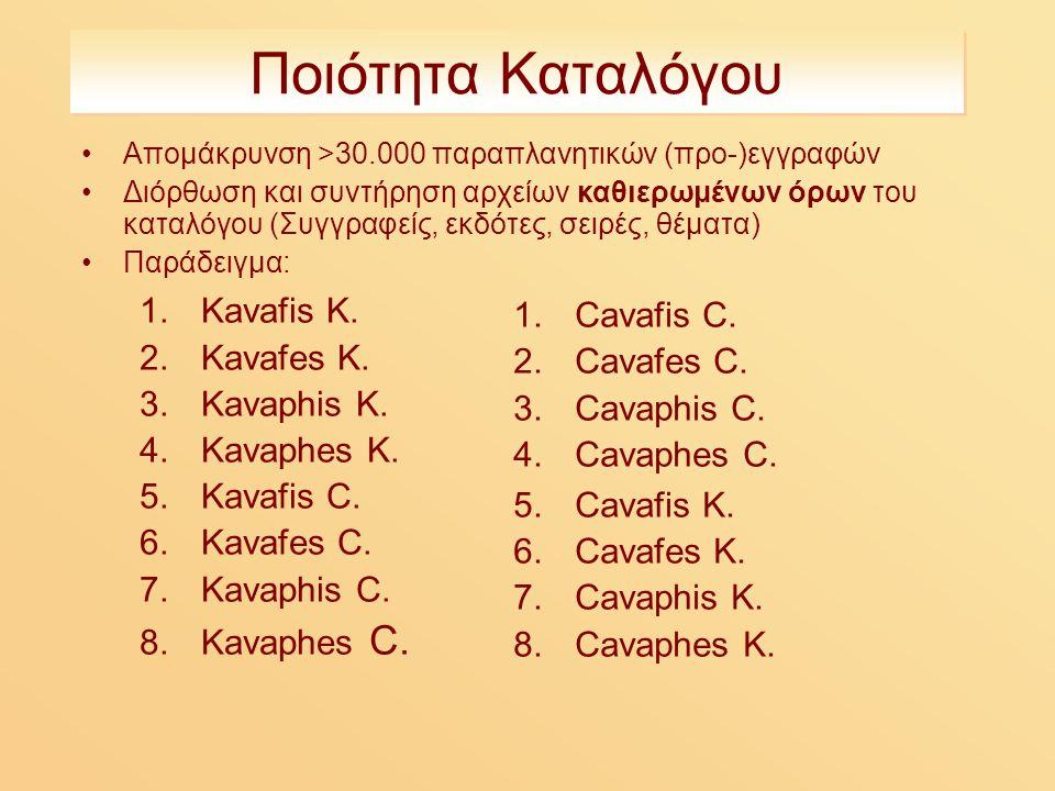Ποιότητα Καταλόγου Απομάκρυνση >30.000 παραπλανητικών (προ-)εγγραφών Διόρθωση και συντήρηση αρχείων καθιερωμένων όρων του καταλόγου (Συγγραφείς, εκδότες, σειρές, θέματα) Παράδειγμα: 1.Kavafis K.