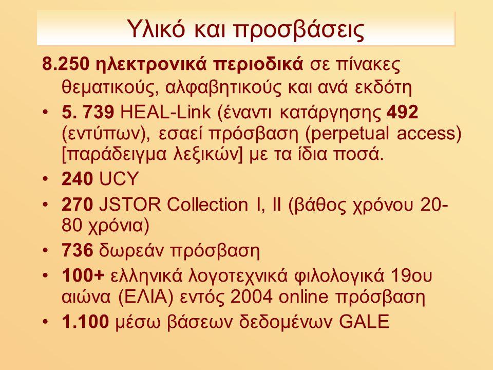 Υλικό και προσβάσεις 8.250 ηλεκτρονικά περιοδικά σε πίνακες θεματικούς, αλφαβητικούς και ανά εκδότη 5.