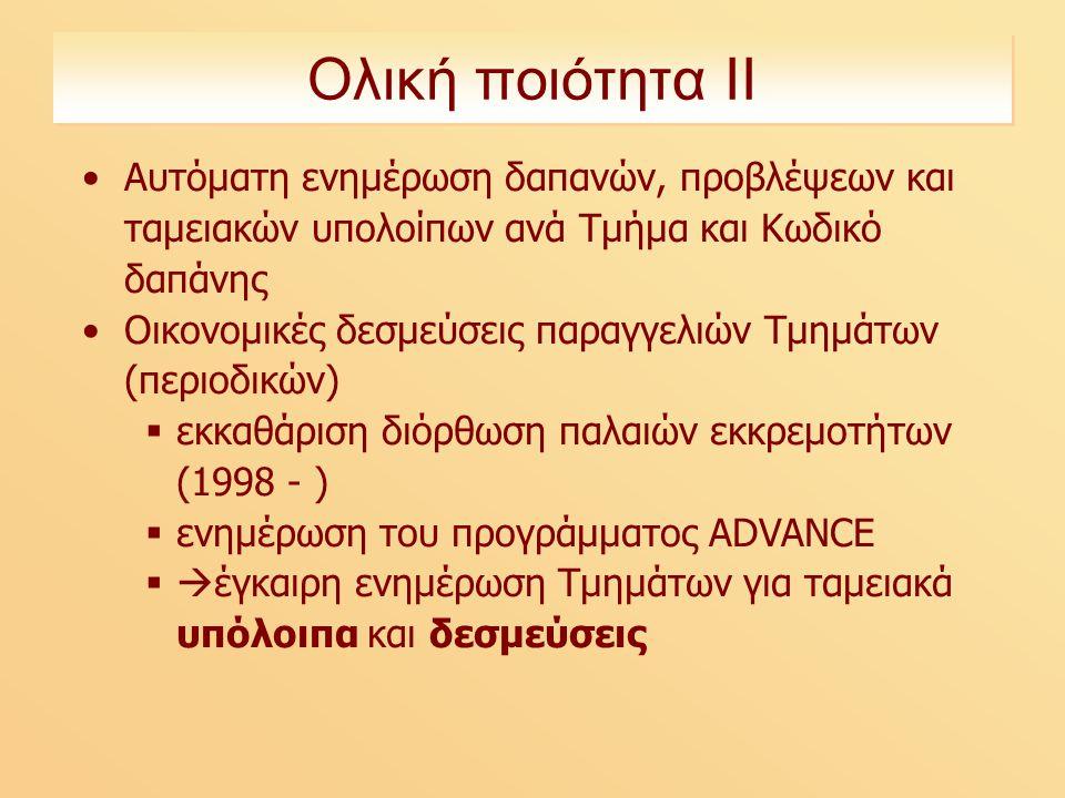 Ολική ποιότητα ΙΙ Αυτόματη ενημέρωση δαπανών, προβλέψεων και ταμειακών υπολοίπων ανά Τμήμα και Κωδικό δαπάνης Οικονομικές δεσμεύσεις παραγγελιών Τμημάτων (περιοδικών)  εκκαθάριση διόρθωση παλαιών εκκρεμοτήτων (1998 - )  ενημέρωση του προγράμματος ADVANCE  έγκαιρη ενημέρωση Τμημάτων για ταμειακά υπόλοιπα και δεσμεύσεις