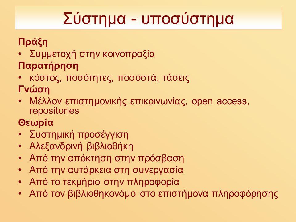 Σύστημα - υποσύστημα Πράξη Συμμετοχή στην κοινοπραξία Παρατήρηση κόστος, ποσότητες, ποσοστά, τάσεις Γνώση Μέλλον επιστημονικής επικοινωνίας, open access, repositories Θεωρία Συστημική προσέγγιση Αλεξανδρινή βιβλιοθήκη Από την απόκτηση στην πρόσβαση Από την αυτάρκεια στη συνεργασία Από το τεκμήριο στην πληροφορία Από τον βιβλιοθηκονόμο στο επιστήμονα πληροφόρησης
