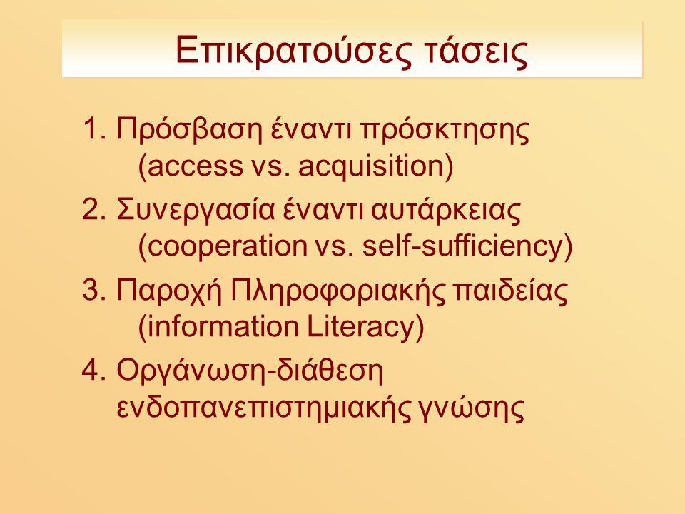Επικρατούσες τάσεις 1.Πρόσβαση έναντι πρόσκτησης (access vs.
