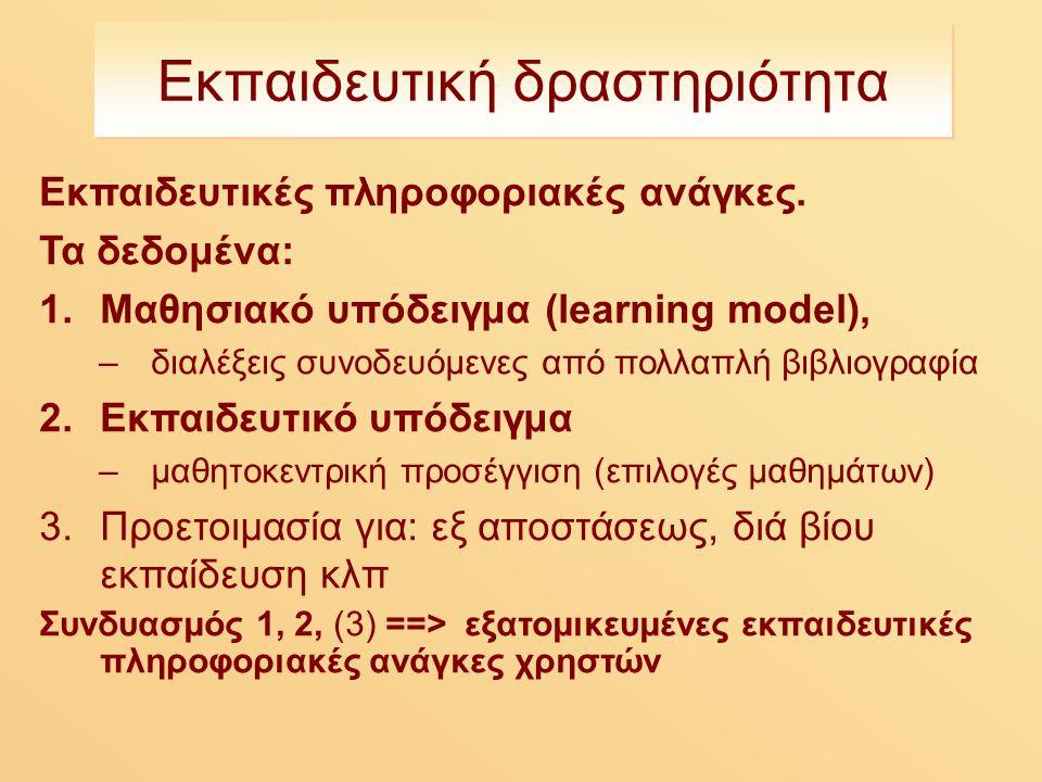 Εκπαιδευτική δραστηριότητα Εκπαιδευτικές πληροφοριακές ανάγκες.
