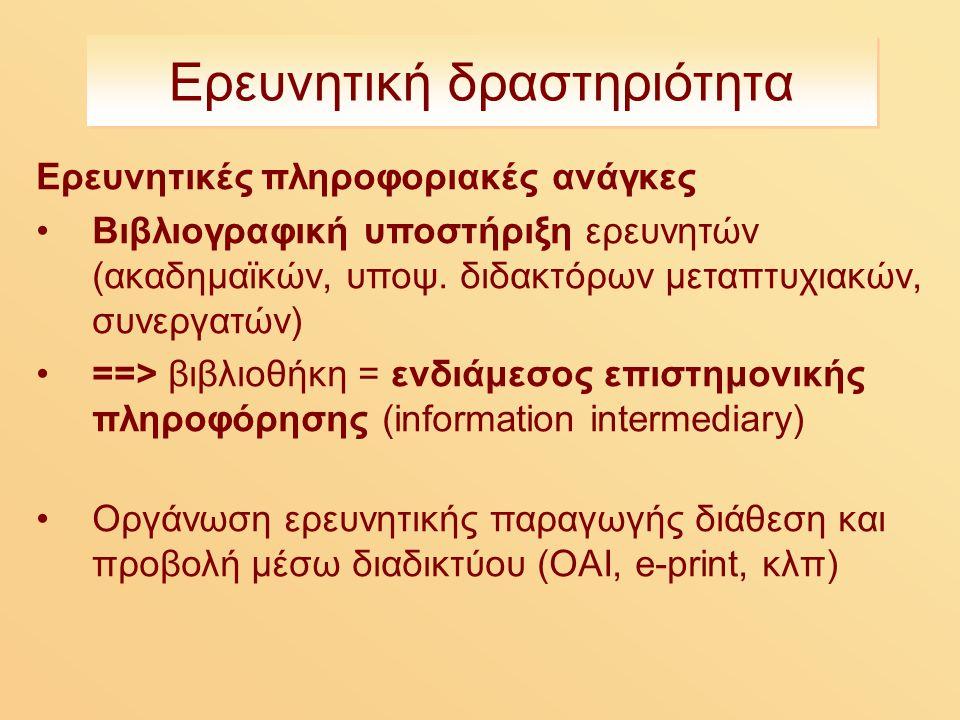 Ερευνητική δραστηριότητα Ερευνητικές πληροφοριακές ανάγκες Βιβλιογραφική υποστήριξη ερευνητών (ακαδημαϊκών, υποψ.