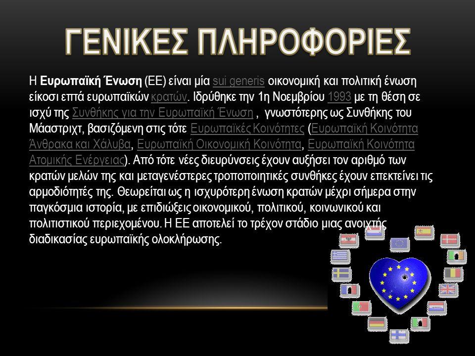 Η Ευρωπαϊκή Ένωση (ΕΕ) είναι μία sui generis οικονομική και πολιτική ένωση είκοσι επτά ευρωπαϊκών κρατών.