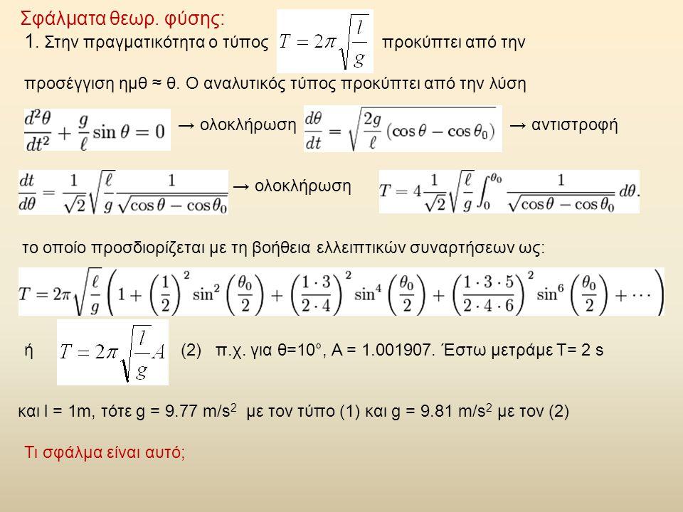 Σφάλματα θεωρ. φύσης: 1. Στην πραγματικότητα ο τύπος προκύπτει από την προσέγγιση ημθ ≈ θ. Ο αναλυτικός τύπος προκύπτει από την λύση → ολοκλήρωση → αν