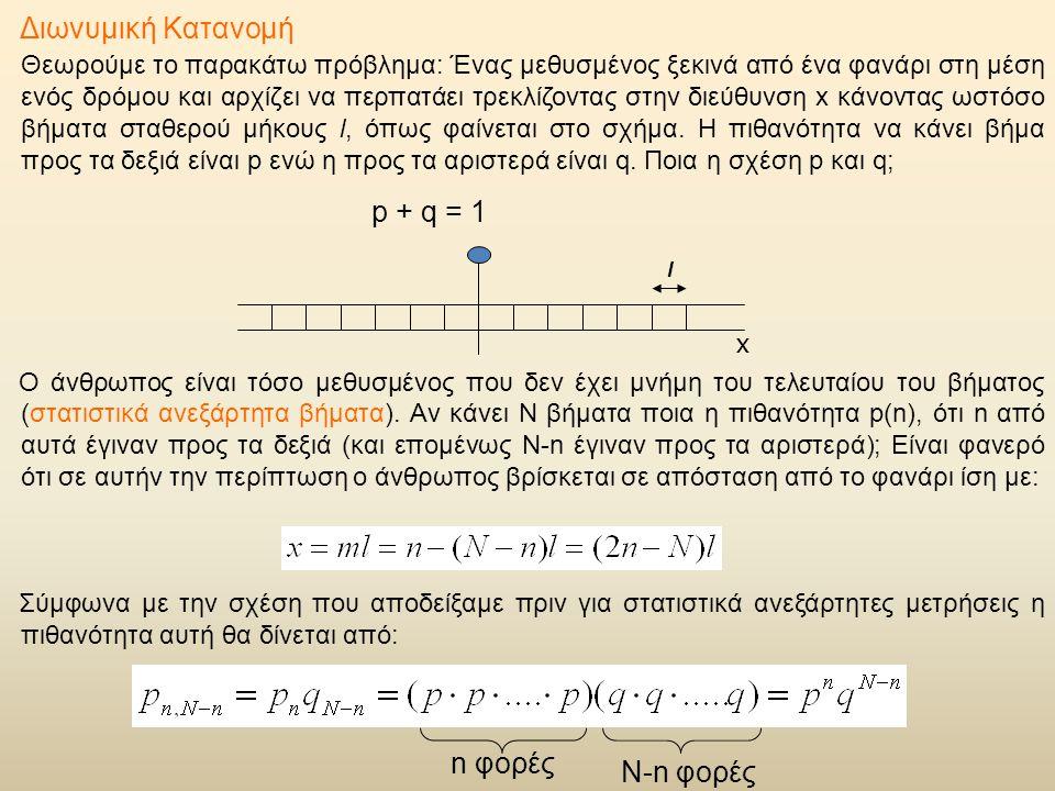 Διωνυμική Κατανομή Θεωρούμε το παρακάτω πρόβλημα: Ένας μεθυσμένος ξεκινά από ένα φανάρι στη μέση ενός δρόμου και αρχίζει να περπατάει τρεκλίζοντας στην διεύθυνση x κάνοντας ωστόσο βήματα σταθερού μήκους l, όπως φαίνεται στο σχήμα.