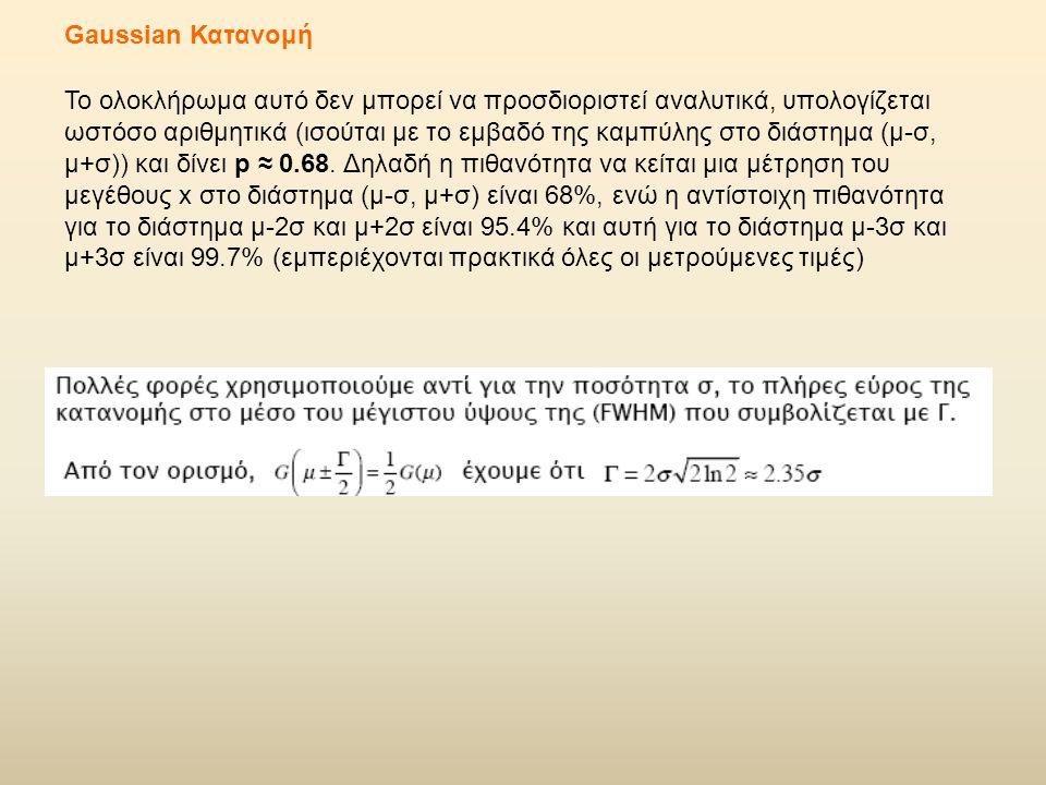 Gaussian Κατανομή Το ολοκλήρωμα αυτό δεν μπορεί να προσδιοριστεί αναλυτικά, υπολογίζεται ωστόσο αριθμητικά (ισούται με το εμβαδό της καμπύλης στο διάστημα (μ-σ, μ+σ)) και δίνει p ≈ 0.68.