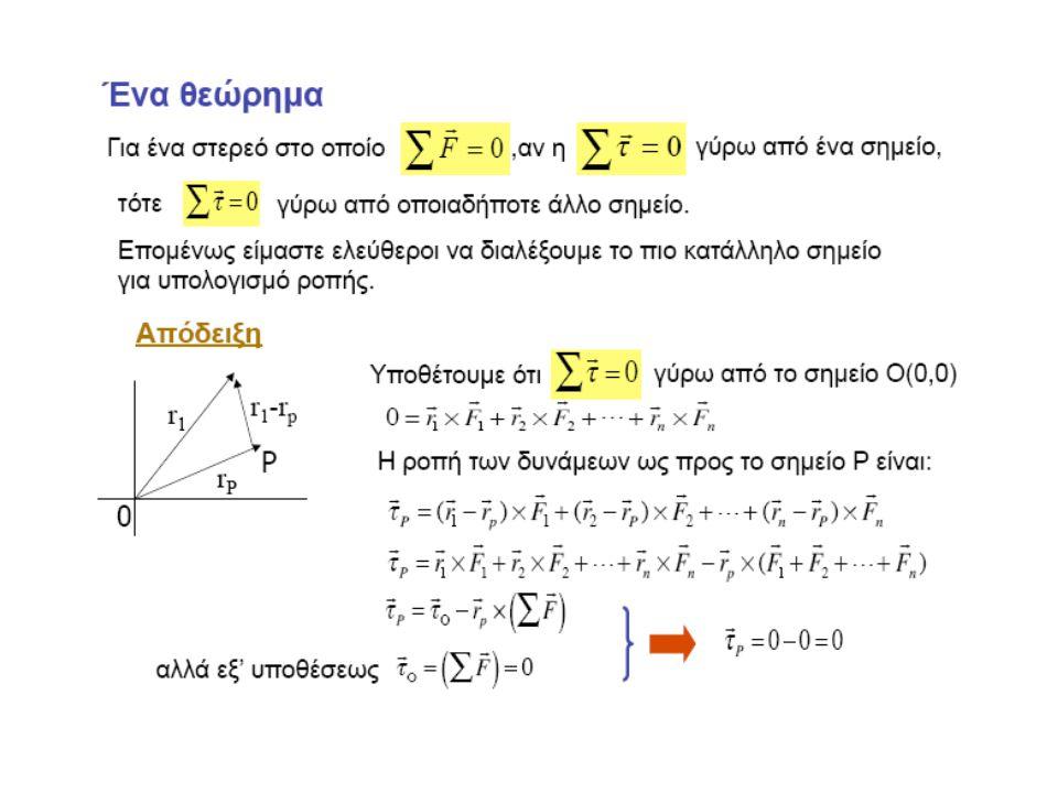 Ως προς οποιοδήποτε σημείο εκτός κέντρου βάρους η βαρυτική ροπή μπορεί να υπολογιστεί από μια συμπαγή εξίσωση, που προκύπτει από τον ορισμό του κέντρου βάρους: