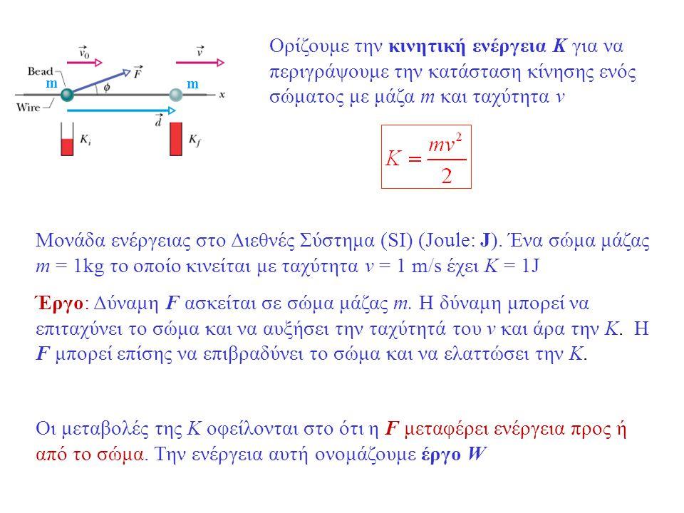 m m Ορίζουμε την κινητική ενέργεια K για να περιγράψουμε την κατάσταση κίνησης ενός σώματος με μάζα m και ταχύτητα v Μονάδα ενέργειας στο Διεθνές Σύστημα (SI) (Joule: J).