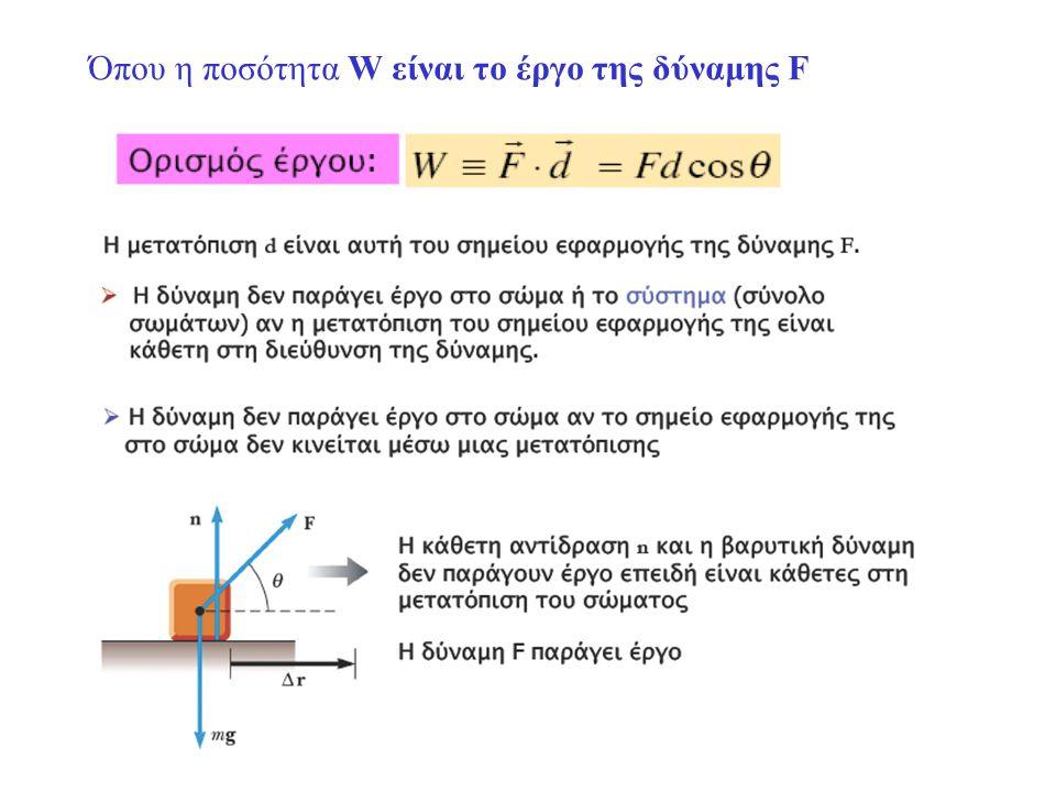 Όπου η ποσότητα W είναι το έργο της δύναμης F