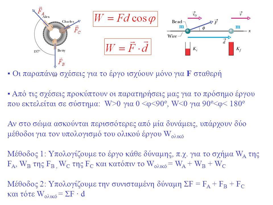 m m ▪ Οι παραπάνω σχέσεις για το έργο ισχύουν μόνο για F σταθερή ▪ Από τις σχέσεις προκύπτουν οι παρατηρήσεις μας για το πρόσημο έργου που εκτελείται σε σύστημα: W>0 για 0 <φ<90º, W<0 για 90º<φ< 180º Αν στο σώμα ασκούνται περισσότερες από μία δυνάμεις, υπάρχουν δύο μέθοδοι για τον υπολογισμό του ολικού έργου W ολικό Μέθοδος 1: Υπολογίζουμε το έργο κάθε δύναμης, π.χ.