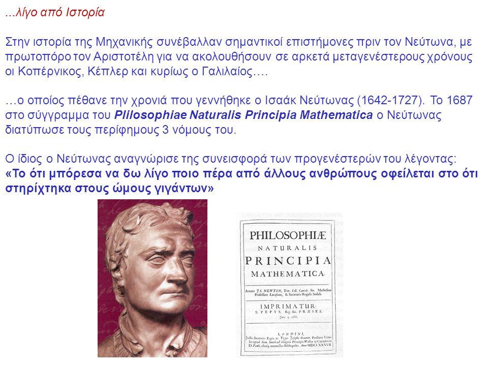 ...λίγο από Ιστορία Στην ιστορία της Μηχανικής συνέβαλλαν σημαντικοί επιστήμονες πριν τον Νεύτωνα, με πρωτοπόρο τον Αριστοτέλη για να ακολουθήσουν σε αρκετά μεταγενέστερους χρόνους οι Κοπέρνικος, Κέπλερ και κυρίως ο Γαλιλαίος….