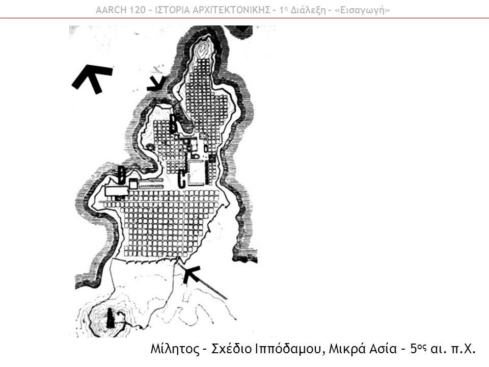 AARCH 120 – ΙΣΤΟΡΙΑ ΑΡΧΙΤΕΚΤΟΝΙΚΗΣ – 1 η Διάλεξη – «Εισαγωγή» Μίλητος – Σχέδιο Ιππόδαμου, Μικρά Ασία – 5 ος αι. π.Χ.